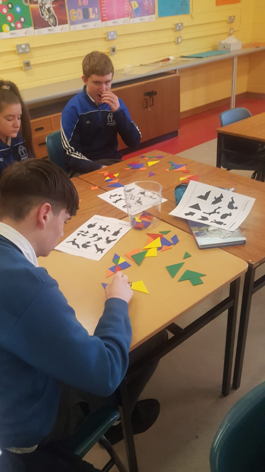 Nov 2018: students in Ms Fahey's class working with Tangrams as part of Maths Week.