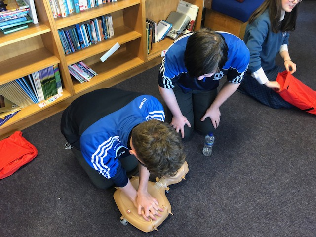 Dec 2018: Transition Year students practicing the technique of CPR