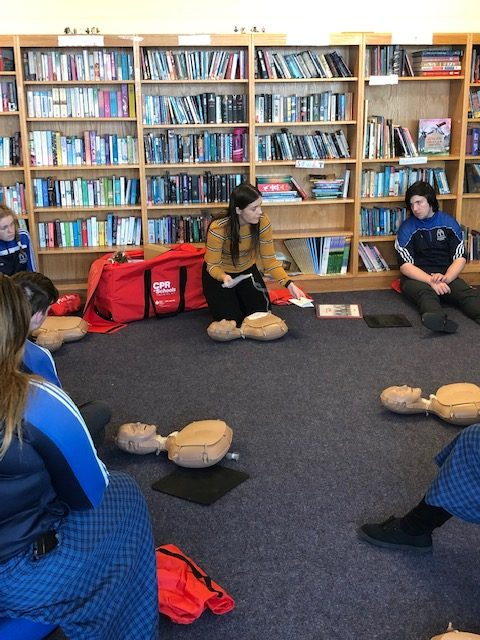 Dec 2018: Ms Culhane demonstrating to the Transition Year students how to carry our CPR