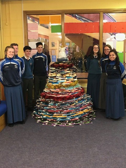 Our Transition Year students under the guidance of Ms O Brien designed a Christmas tree out of books
