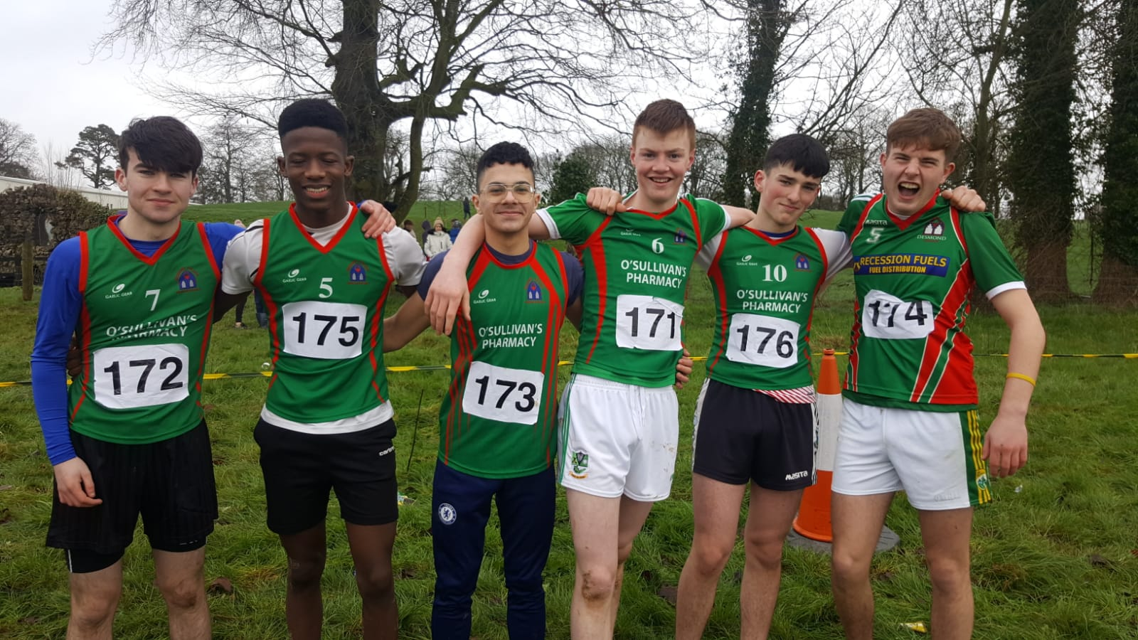 Billy Cunningham, Andy O'Doherty, Joao Da Silva, Diarmuid O'Flynn, David O'Brien and Danny Moriarty who participated in the North Munster Cross Country
