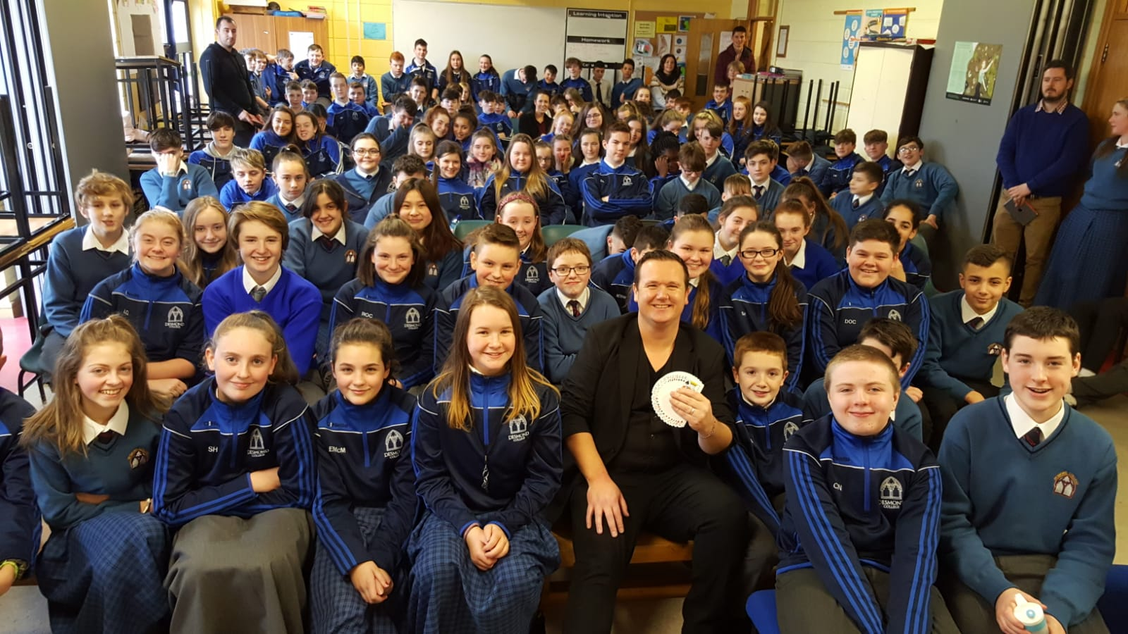 Some of Desmond College First and Second Year students enjoying Magician Leon as part of Numeracy Week.