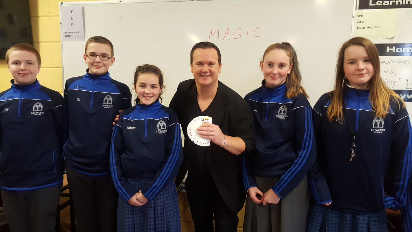 Cathal Nolan, Eamon Conlon, Edel McMahon, Sarah Hallett  and Leah Mai Fitzpatrick enjoying the magic show from Magician Leon as  part of Numeracy Week.