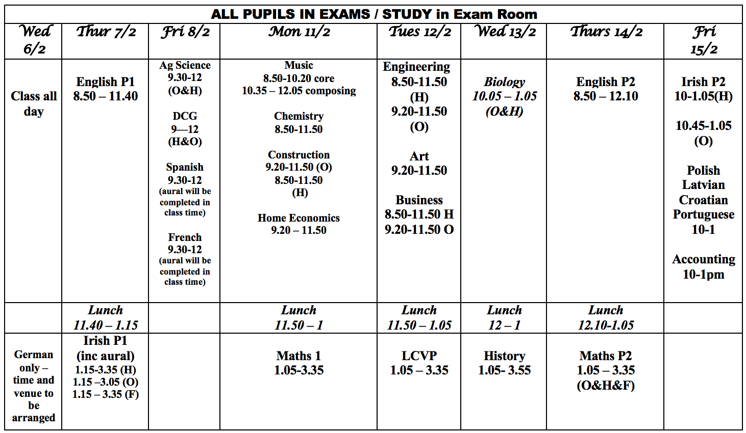 Pre- Leaving Cert Exam Timetable 2019