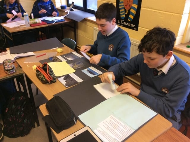 Rhys O'Connor and Jan Fasiczka producing displays on Early Christian Ireland as part of History class