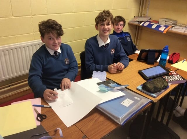 Josh Dore, Michael Mason and John Sheedy producing displays on Early Christian Ireland as part of History class