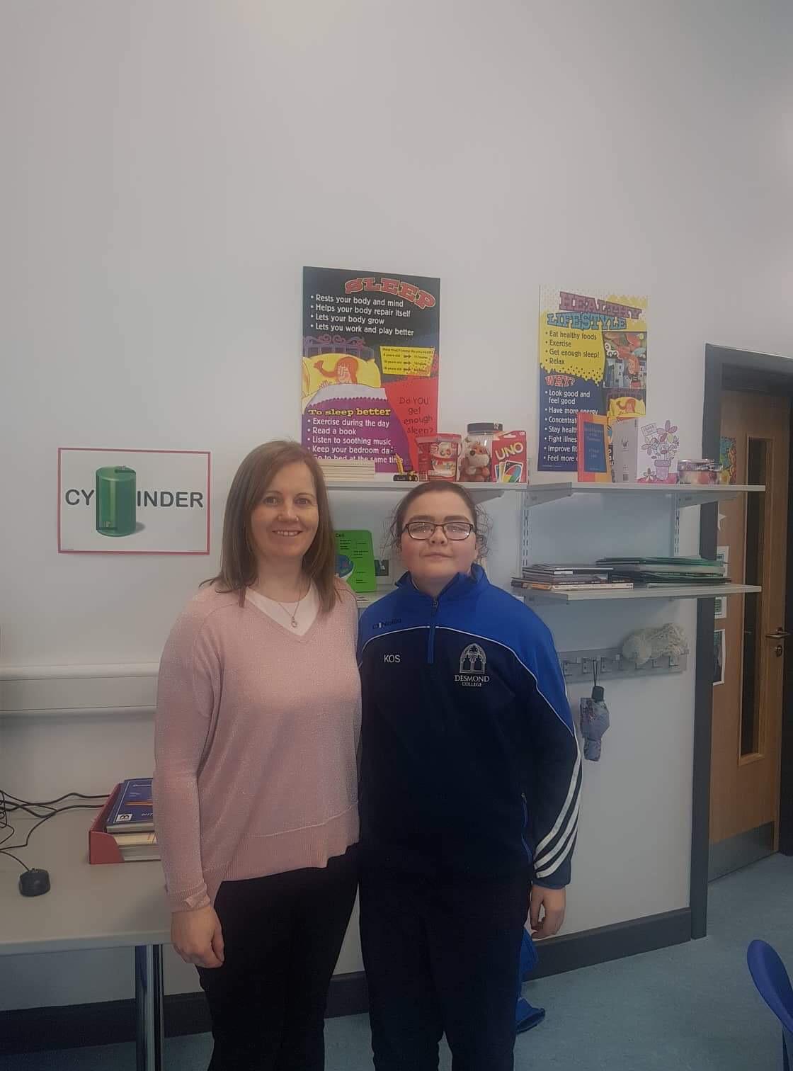 Nuala O'Callaghan and Kathlyn O'Sullivan during the production of the school Calendar