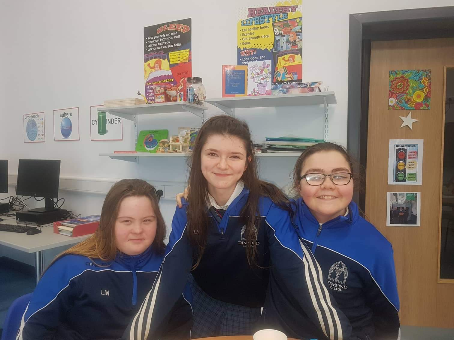 Lydia Murphy, Clodagh Flatley and Kathlyn O'Sullivan who helped in the production of the school Calendar