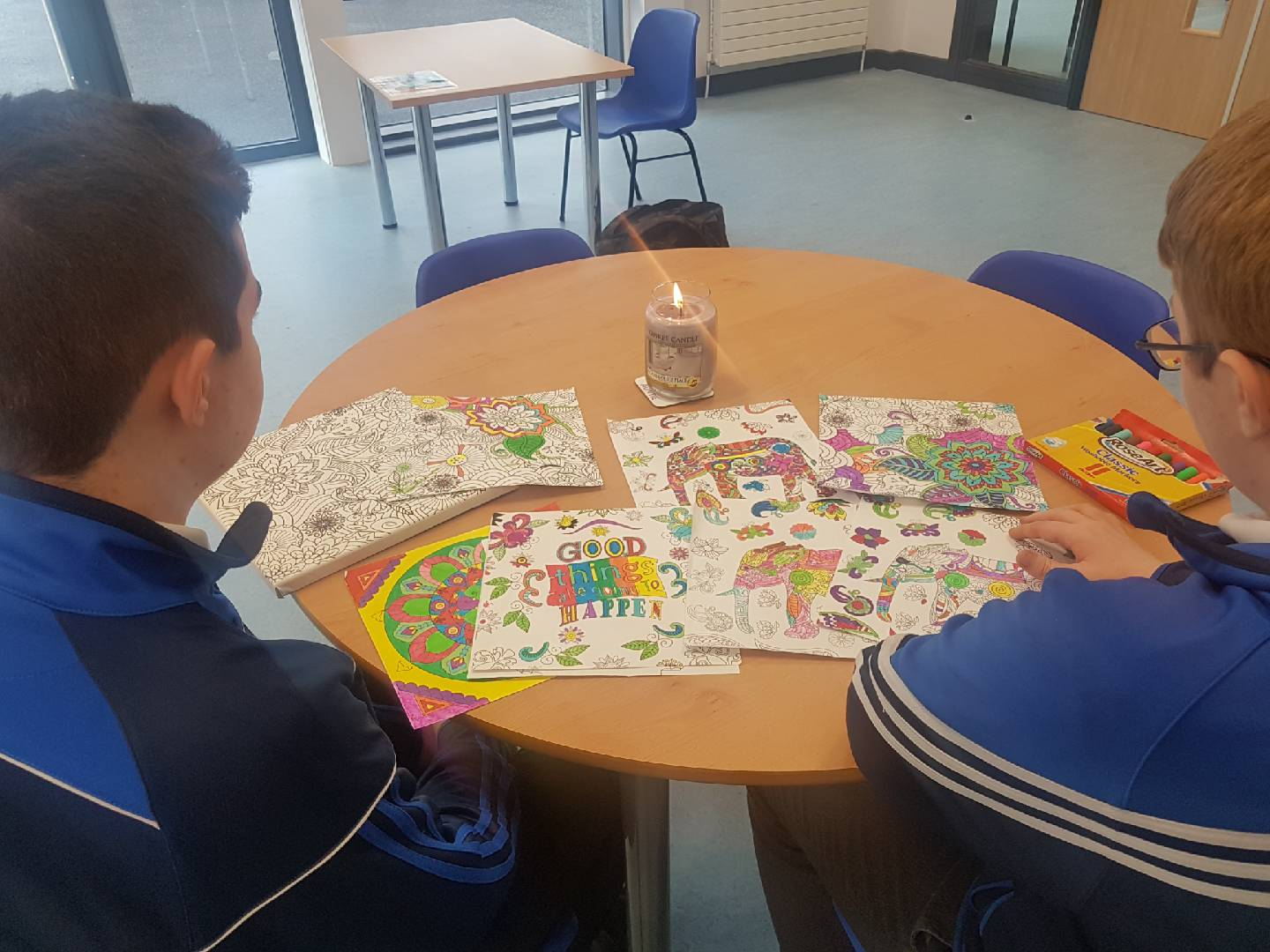 Students from Rang Grandin enjoying their therapeutic colouring as part of wellbeing Wednesday