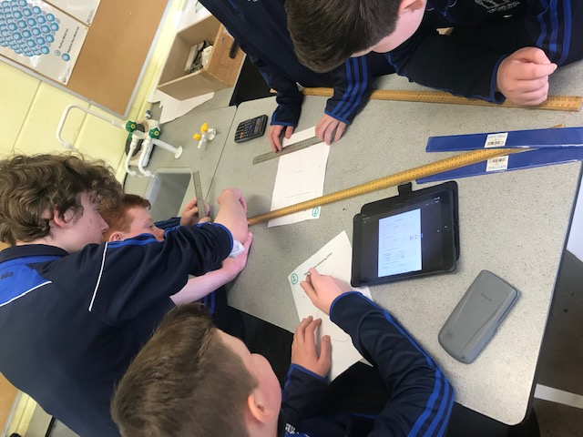 First Year students completing measurement tasks in science class with Ms Culhane.