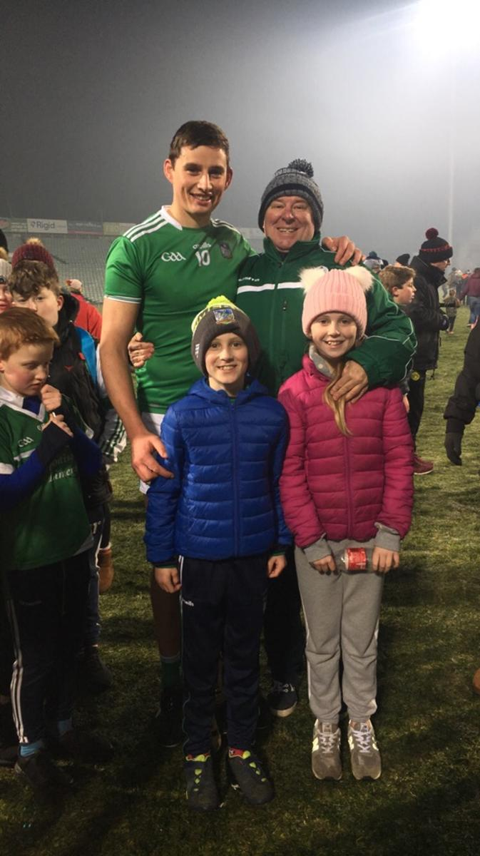 Limerick's number one fan John English with his kids congratulating Mr Hegarty on a great win over Tipperary in the Gaelic Grounds on Saturday evening
