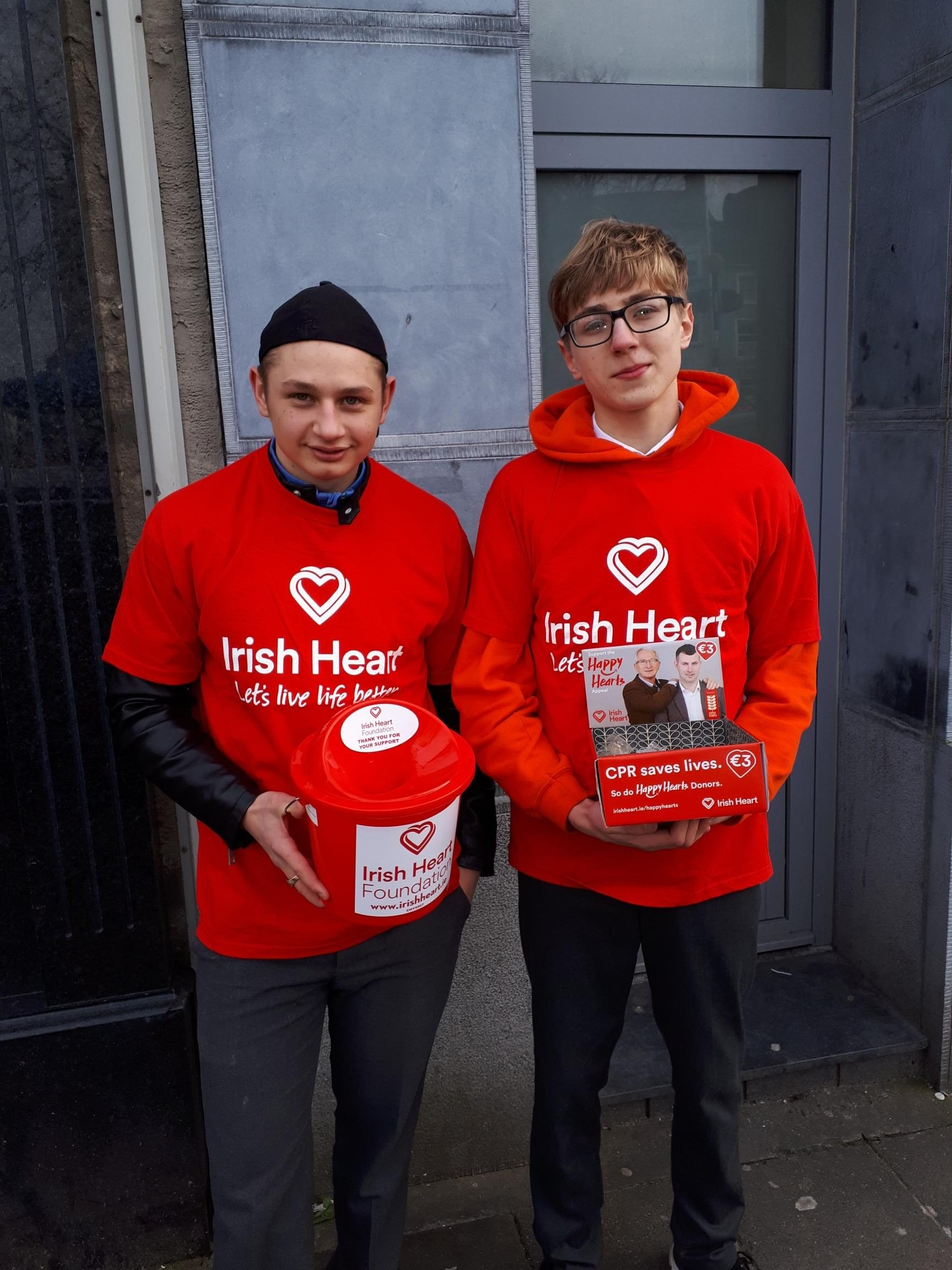 Dan Mocanu and Cian Mason fundraising for the Irish Heart Foundation