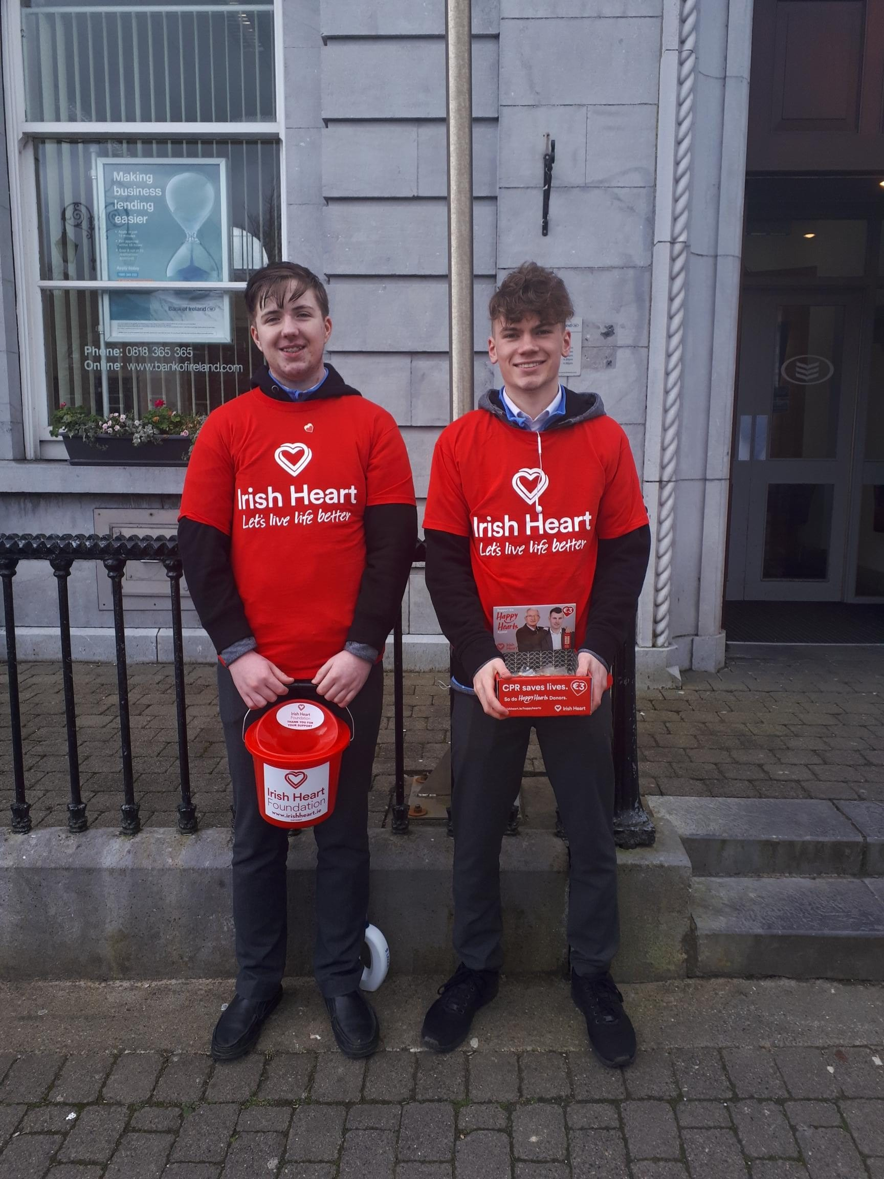 Cian Nolan and Nathan Wright fundraising for the Irish Heart Foundation
