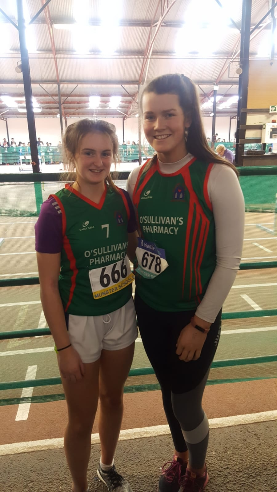 Iris Kennelly and Aoife Corbett at the Munster Athletic School Games 2019