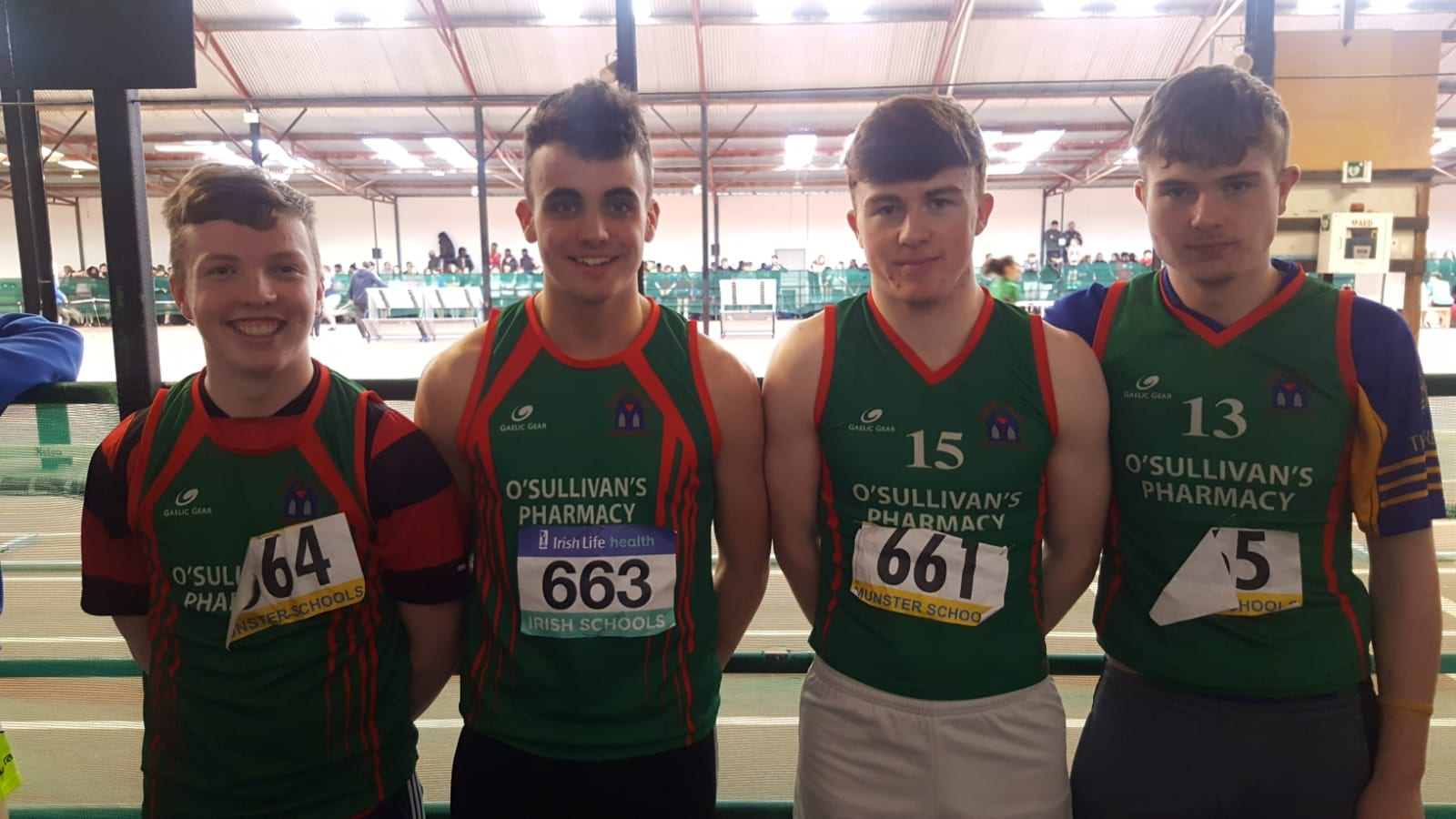 Cormac Browne, Oísín O'Sullivan, Jack Corkery and Danny Moriarty at the Munster Athletic School Games 2019