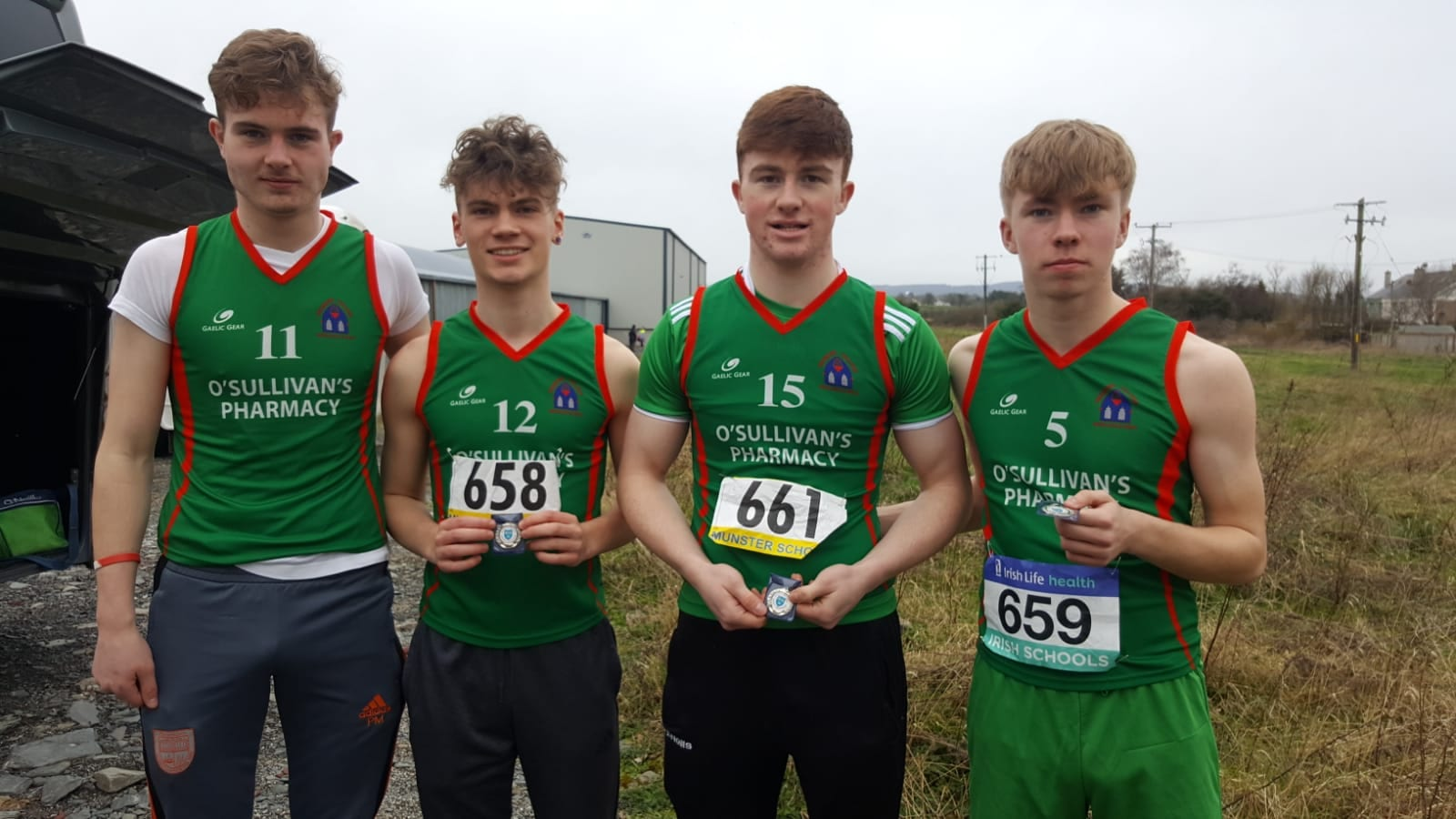 Danny Moriarty, Nathan Wright, Jack Corkery and Dylan O'Shea at the Munster Athletic School Games 2019