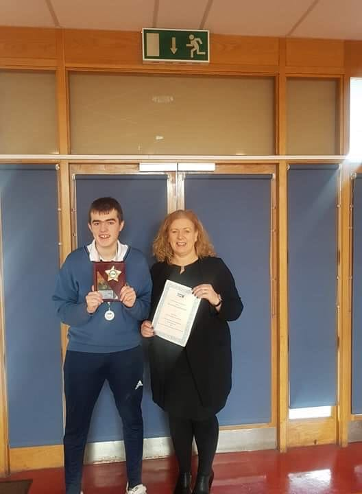 Alan Wallace pictured with Ms Gavin after receiving the Sr Rosetta Gray Award from Limerick Fairtrade