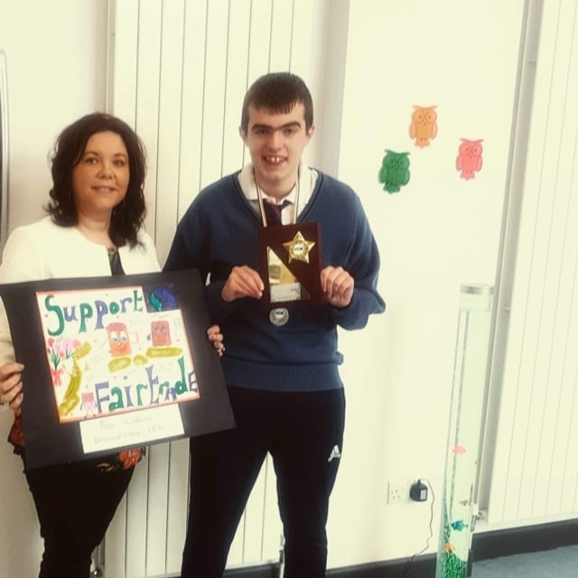 Alan Wallace pictured with his teacher Ms Connor after receiving the Sr Rosetta Gray Award from Limerick Fairtrade