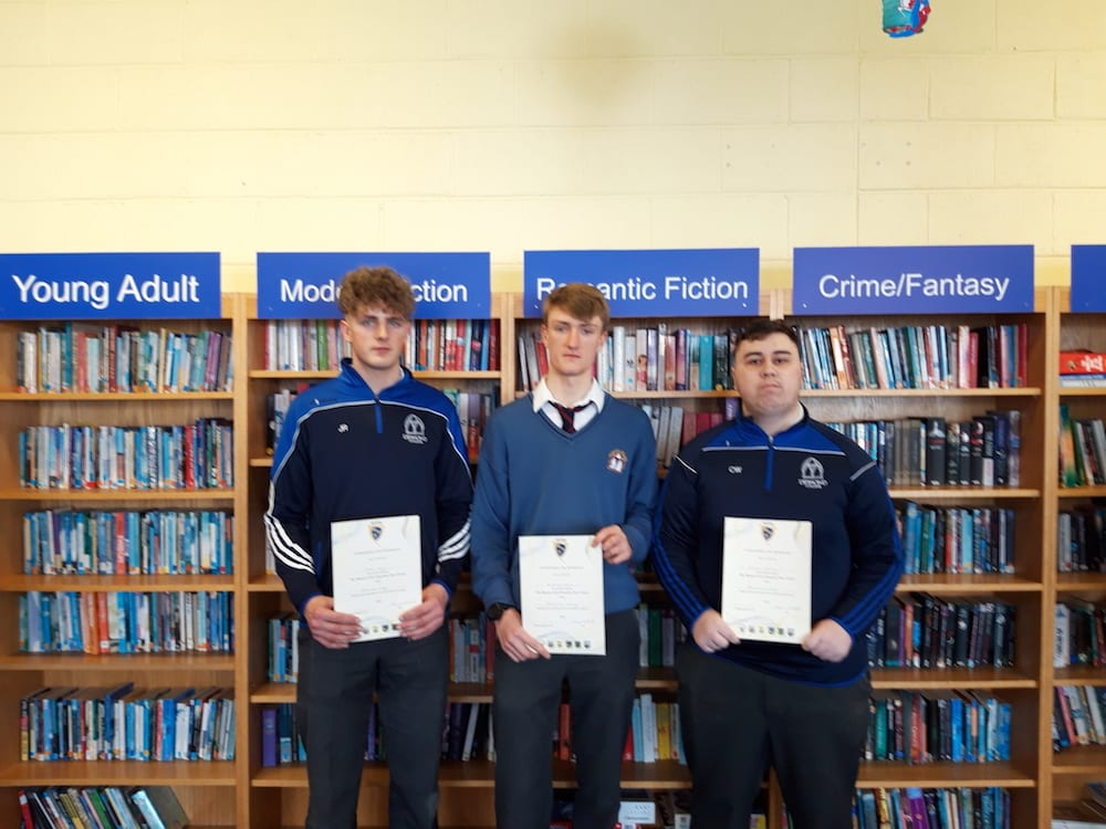Jason Ryan, Emmett Wren and Calvin Wolohan receiving their certificates for successfully completing the GAA Foundation Coaching Course