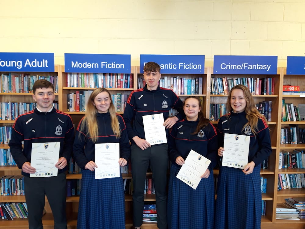 Thomas Curtin, Alice Duffy, Tiernan Mason, Amy O'Shea and Hannah McMahon receiving their certificates for successfully completing the GAA Foundation Coaching Course