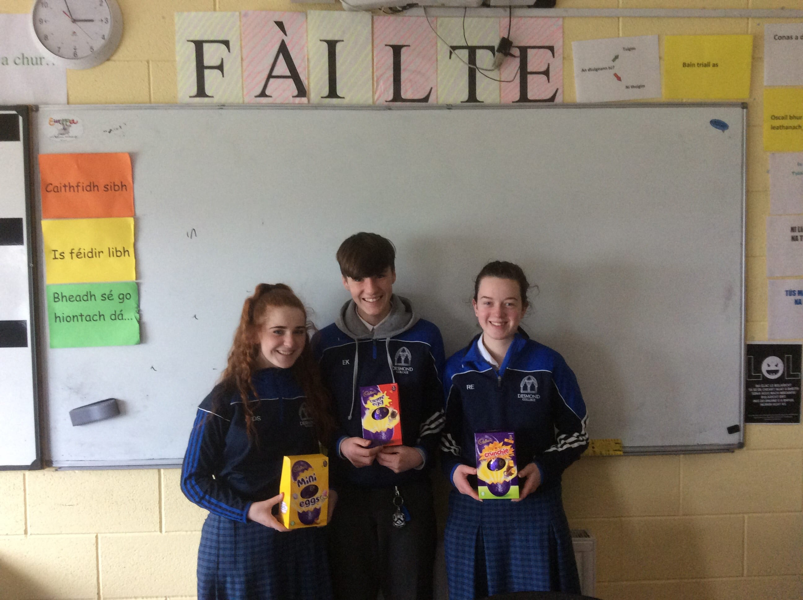 Winners of the 'Tráth na gCeist' Emma O Shea, Ethan Kirwan and Rebecca Enright