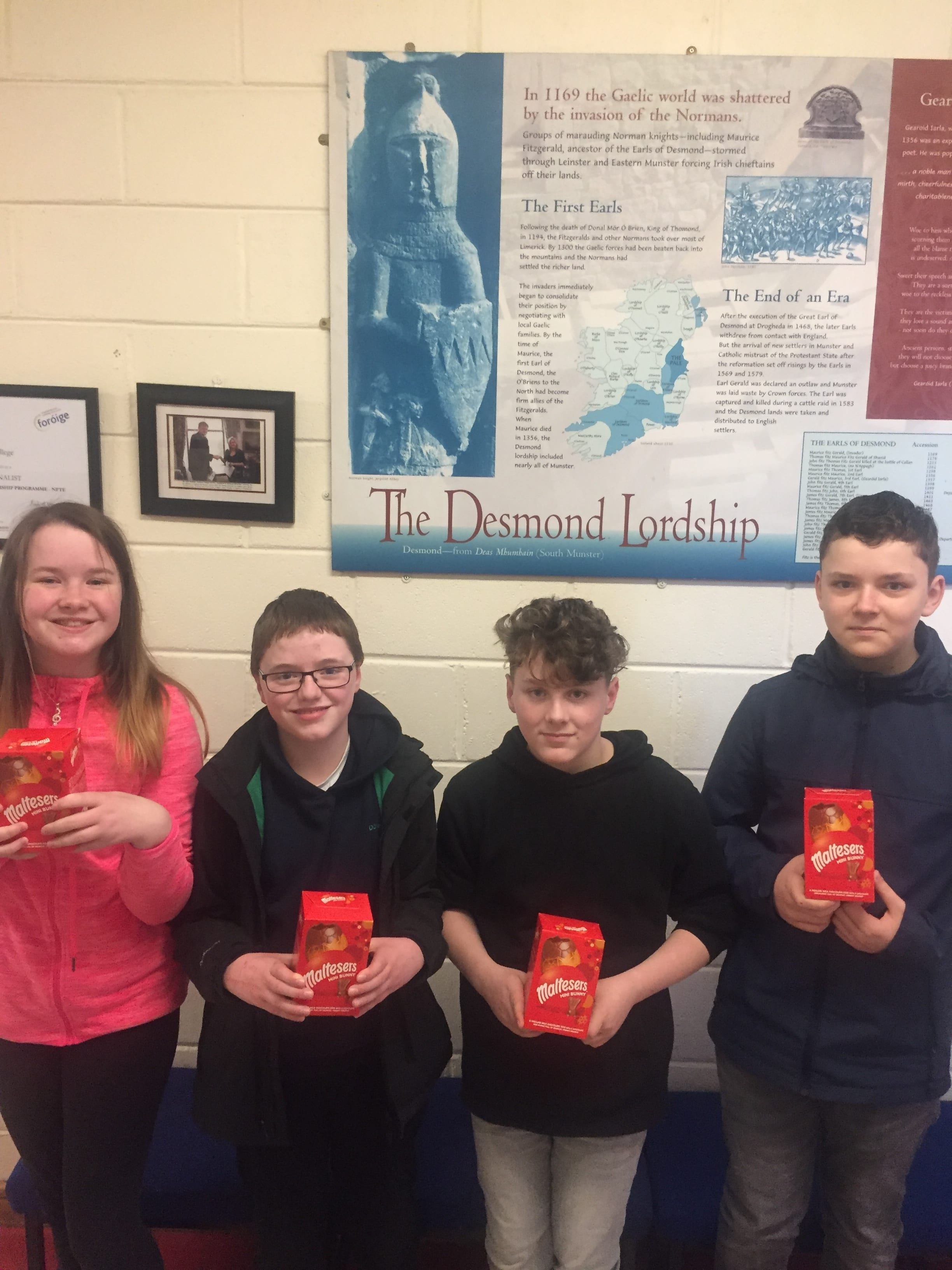 Second place in the Tráth an gCeist in Ms O Leary's class Leah Fitzpatrick, Patrick Ó Grady, Josh Dore and Jan Fasicka.