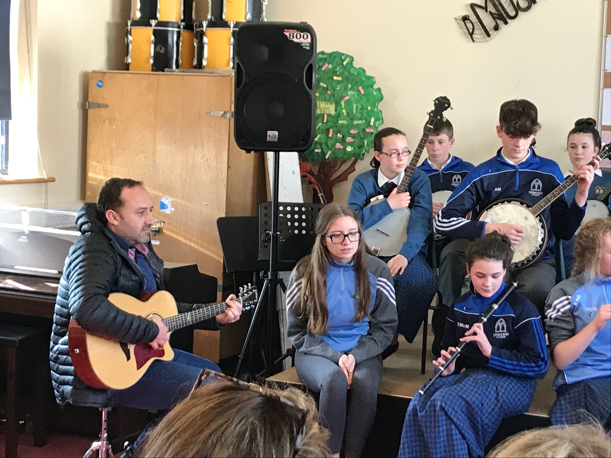 Mr José Goterris Carratalá (music teacher from Spain) playing some Irish trad music with students from Desmond College on his visit to the school as part of a European Erasmus Programme.