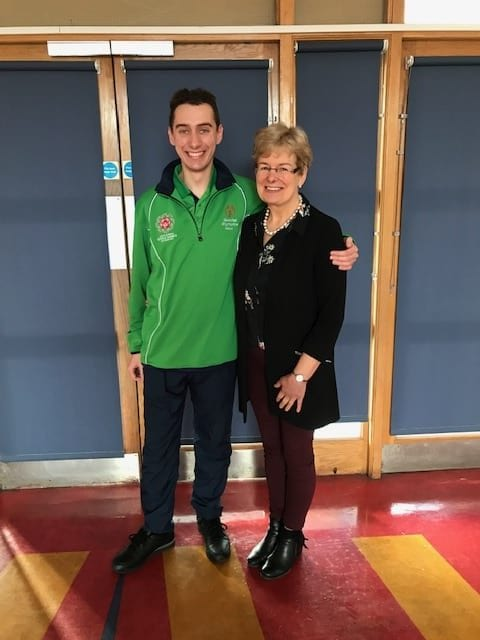 Brian O'Sullivan past pupil of Desmond College who is on Ireland's soccer team going to Special Olympics in Abu Dhabi pictured with Ms Hannon
