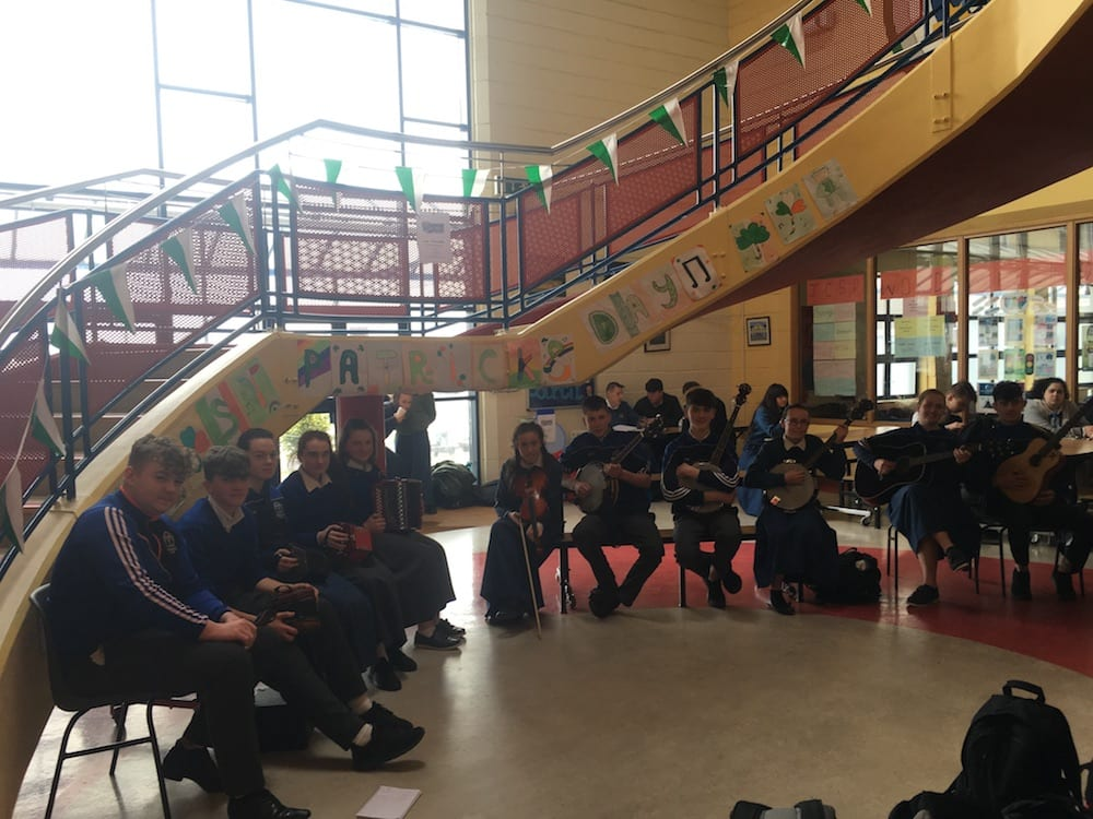 Desmond College Trad Group accompanied by Ms Keane performing for Desmond College's staff and students as part of Seachtain na Gaeilge and St Patrick's Day Celebrations