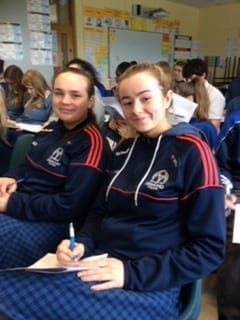 Amy O Shea and Alice Duffy enjoying the 'Rayse the Game' study skills programme