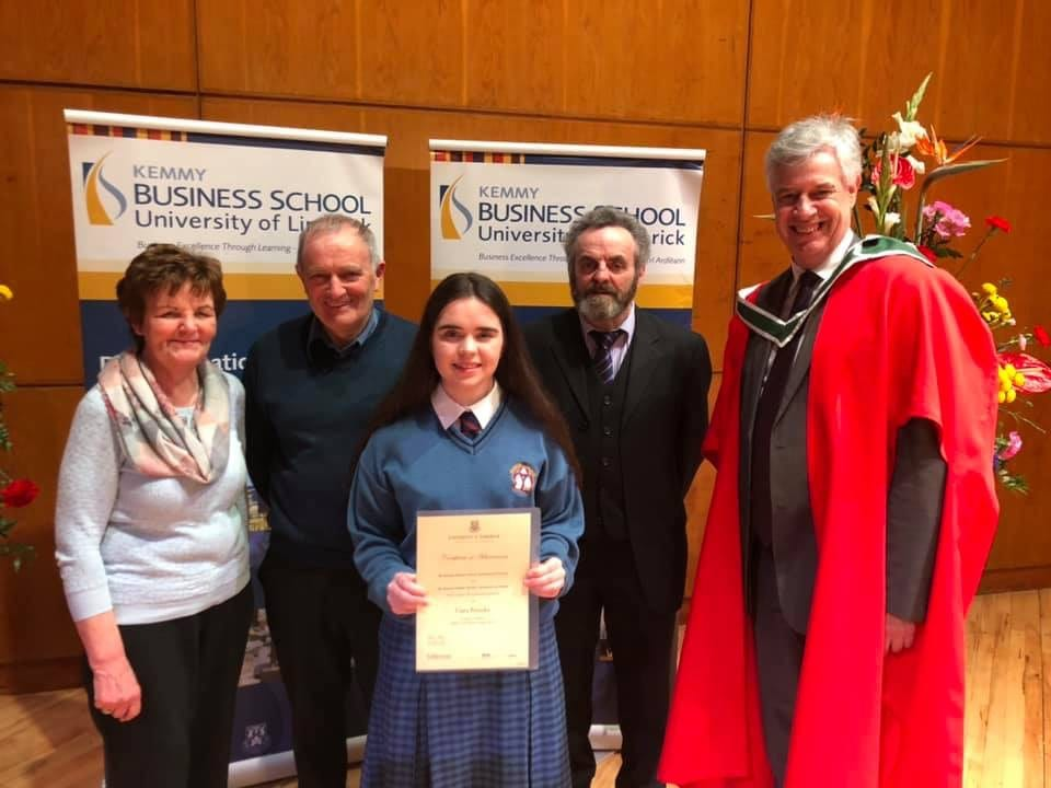 2019 March: Ciara Brouder receiving her Certificate of Achievement at the Business Studies Awards Ceremony hosted by UL's Kemmy Business School and the Business Studies Teachers Association of Ireland (BSTAI)