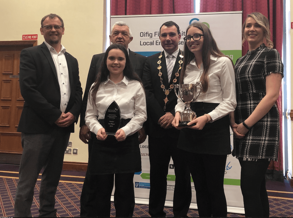 "Desmond College's Melissa Flaherty and Ciara Brouder won 1st place in the senior section with ""Safety Harness Attachment"" at Student Enterprise 2019"