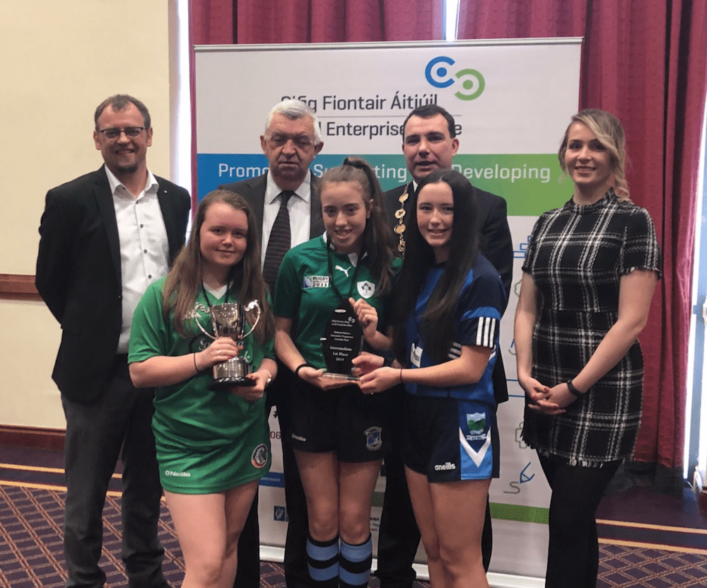 Desmond College's Aine Murphy, Lauren Ambrose and Lucy Flaherty all second year students won 1st Place in the Intermediate Section with their company Hy Geeenie at Student Enterprise 2019