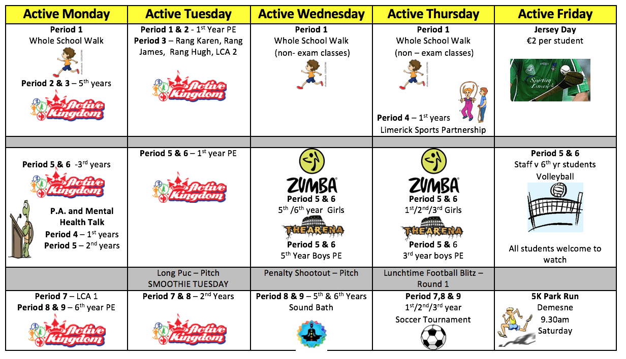 Desmond College Active School Week 29th April 3rd May 2019