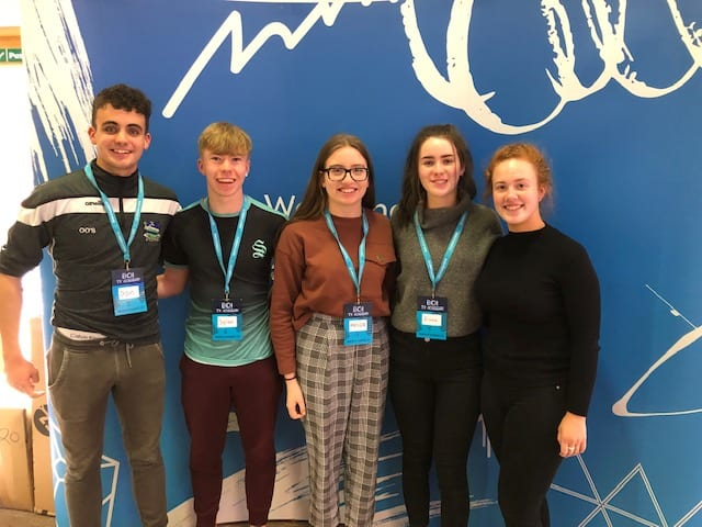 2019, March: Oisin O'Sullivan, Dylan O'Shea, Melissa Flaherty, Fiona Kelly and Victoria Brouder at the Bank of Ireland TY Academy