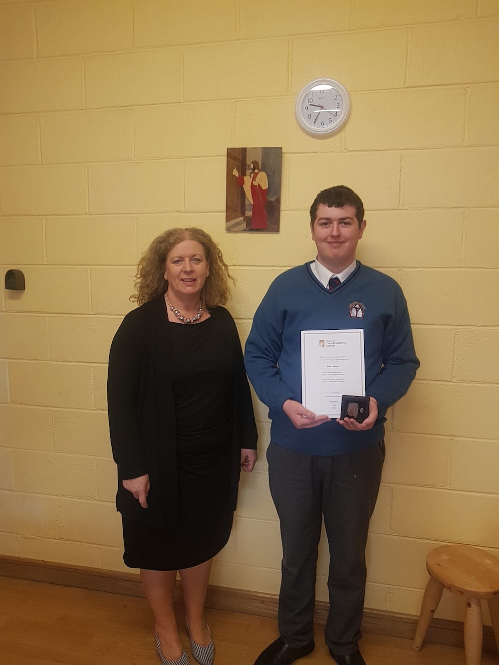 Evan Condon pictured with Desmond College principal, Vourneen Gavin Barry, on receiving his Gaisce President's Award