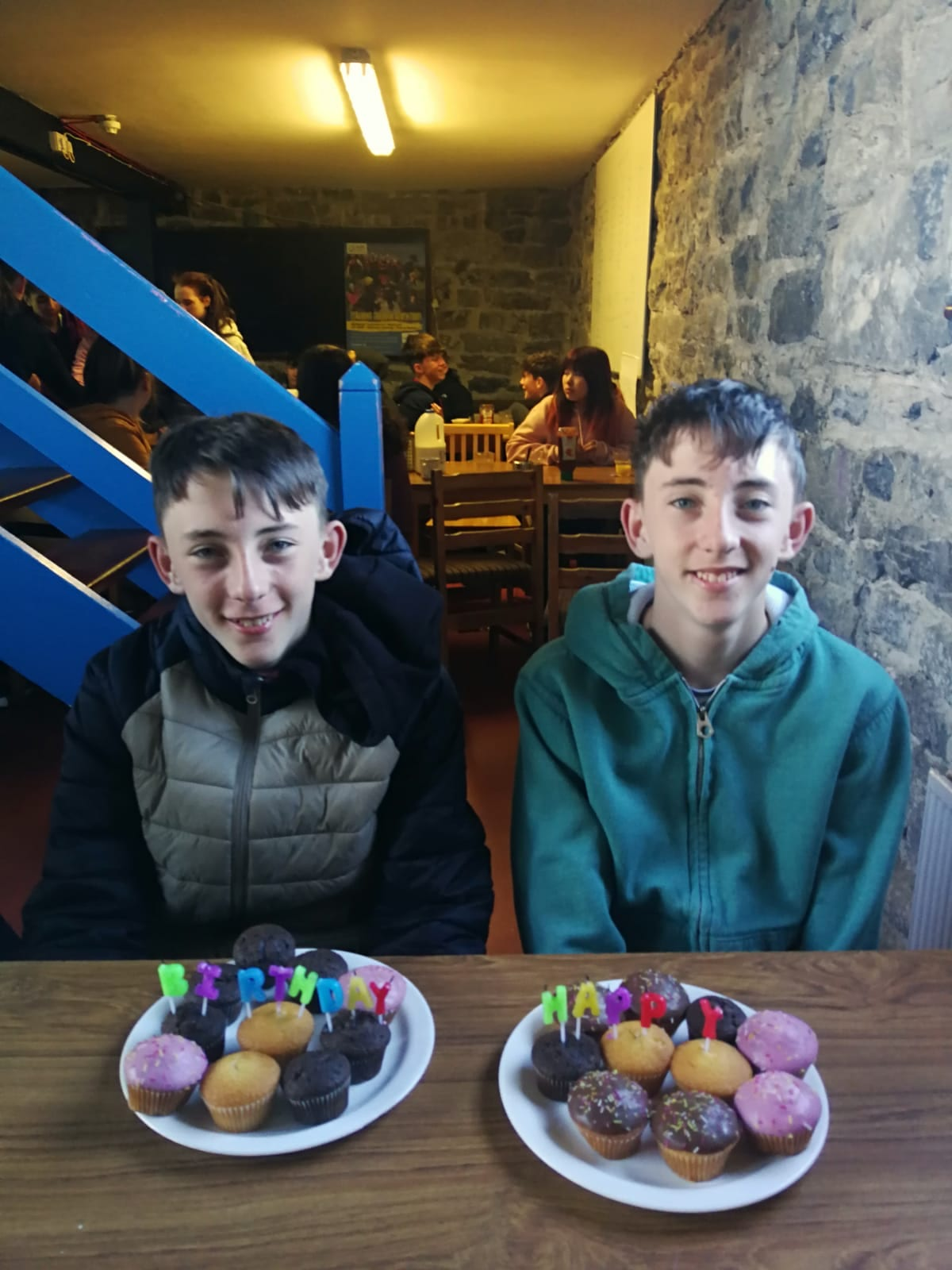 Cathal and Josh Daly enjoying a birthday celebration while on an overnight trip to the Burren