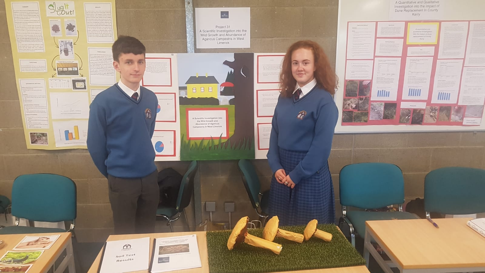 Conor Fox and Victoria Brouder carried out 'A Scientific Investigation into the wild growth and abundance of agaricus campestris in West Limerick'