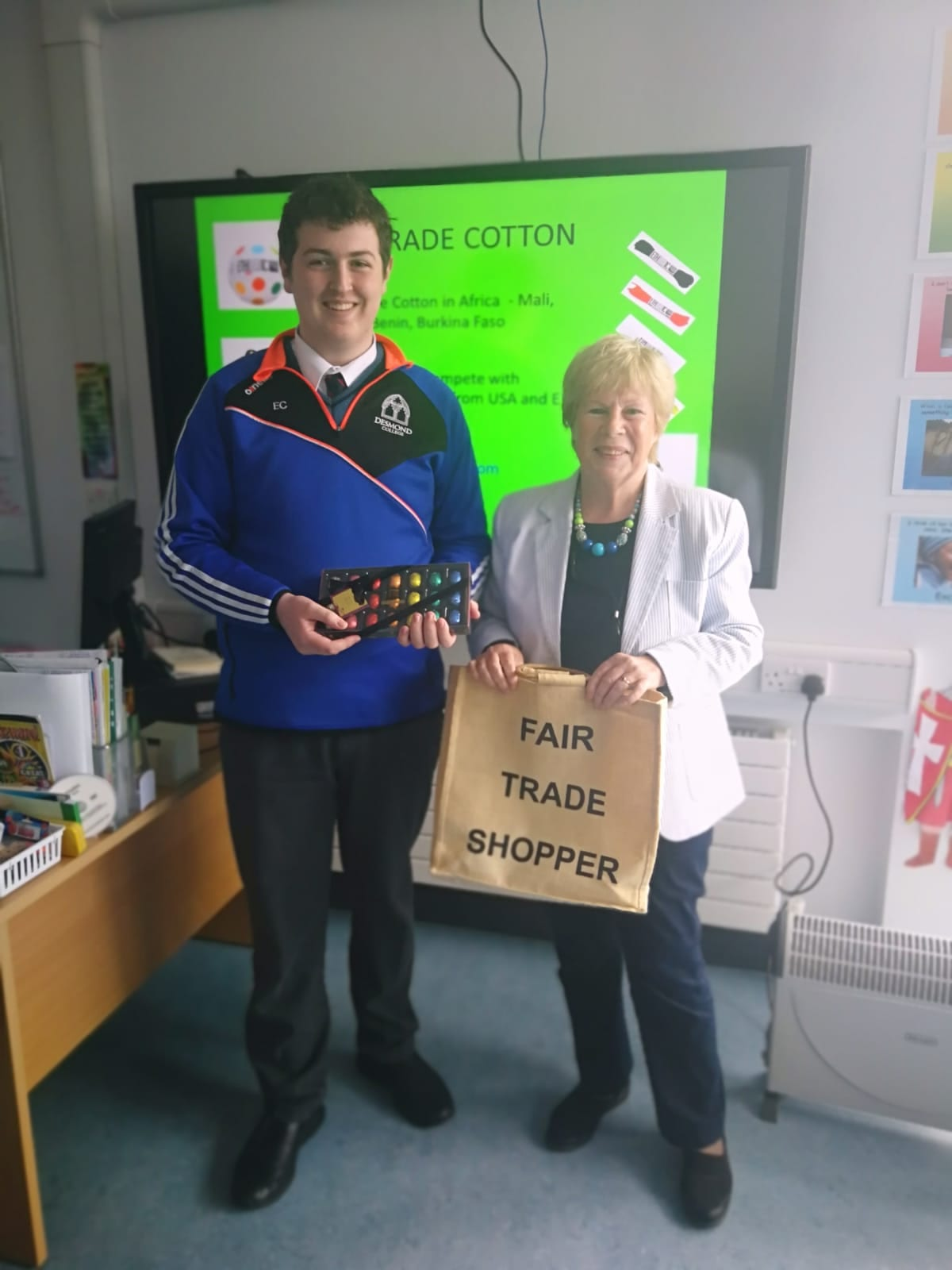 Evan Condon pictured with Dolores O'Meara, Chairperson of Limerick Fairtrade