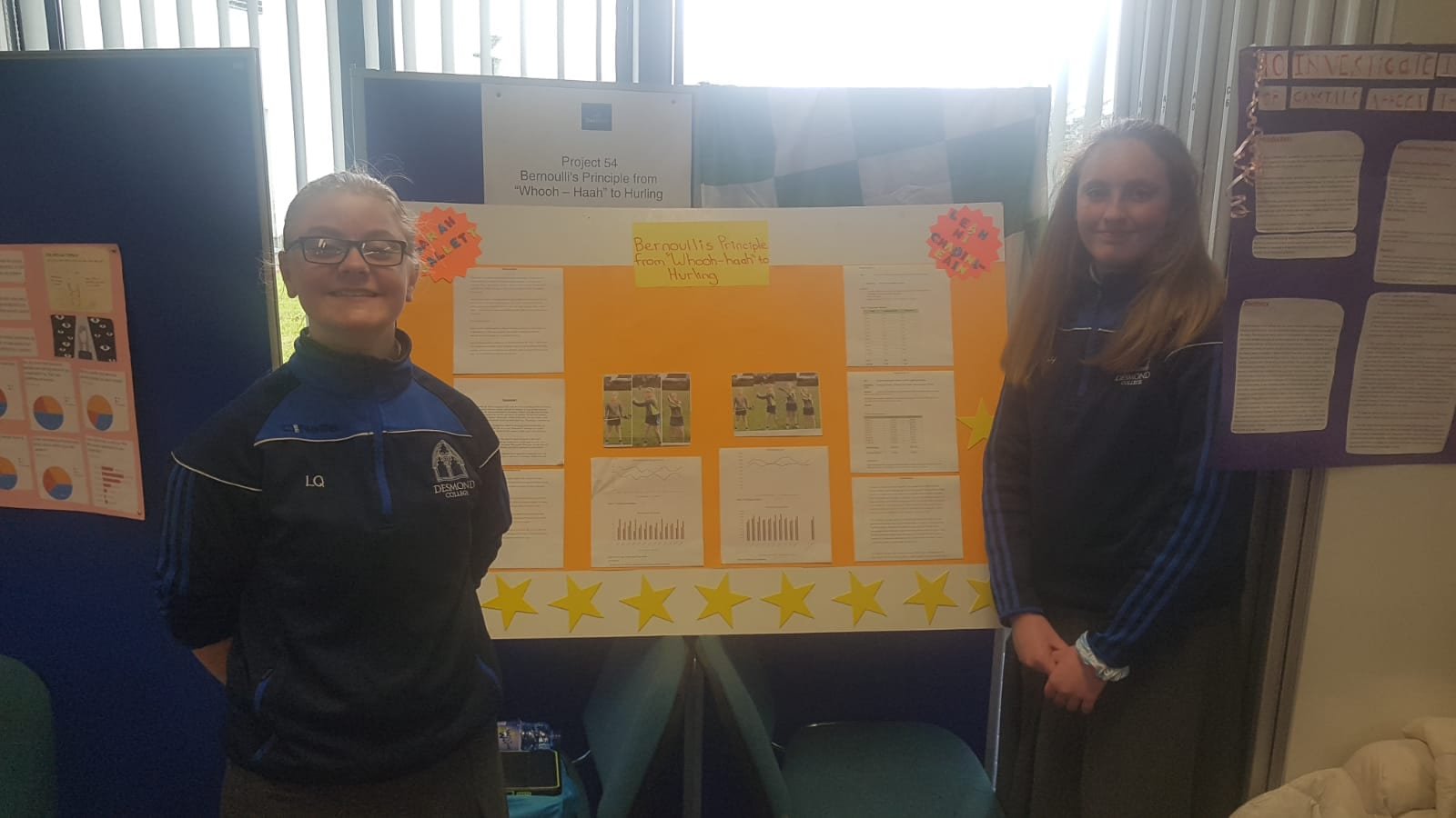 """Leah Ní Chaoinleáin and Sarah Hallett carried out a project entitled ' Bernoulli's Principle from """"Whooh-Haah"""" to Hurling'"""