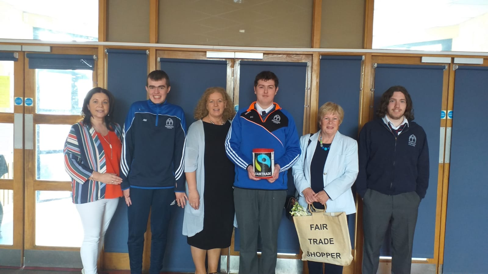 Ms Margaret O'Connor, Alan Wallace, Principal Ms Vourneen Gavin-Barry, Evan Condon, Dolores O'Meara (Chairperson of Limerick Fairtrade) and Kalon O'Brien