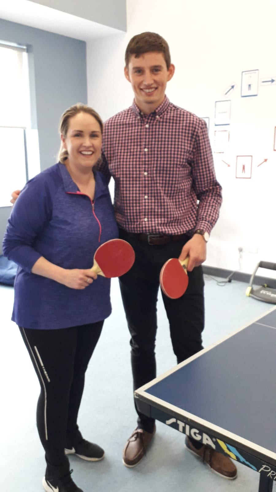 No hard feelings for Ms Creed after she was narrowly defeated by Mr Hegarty in the table tennis final