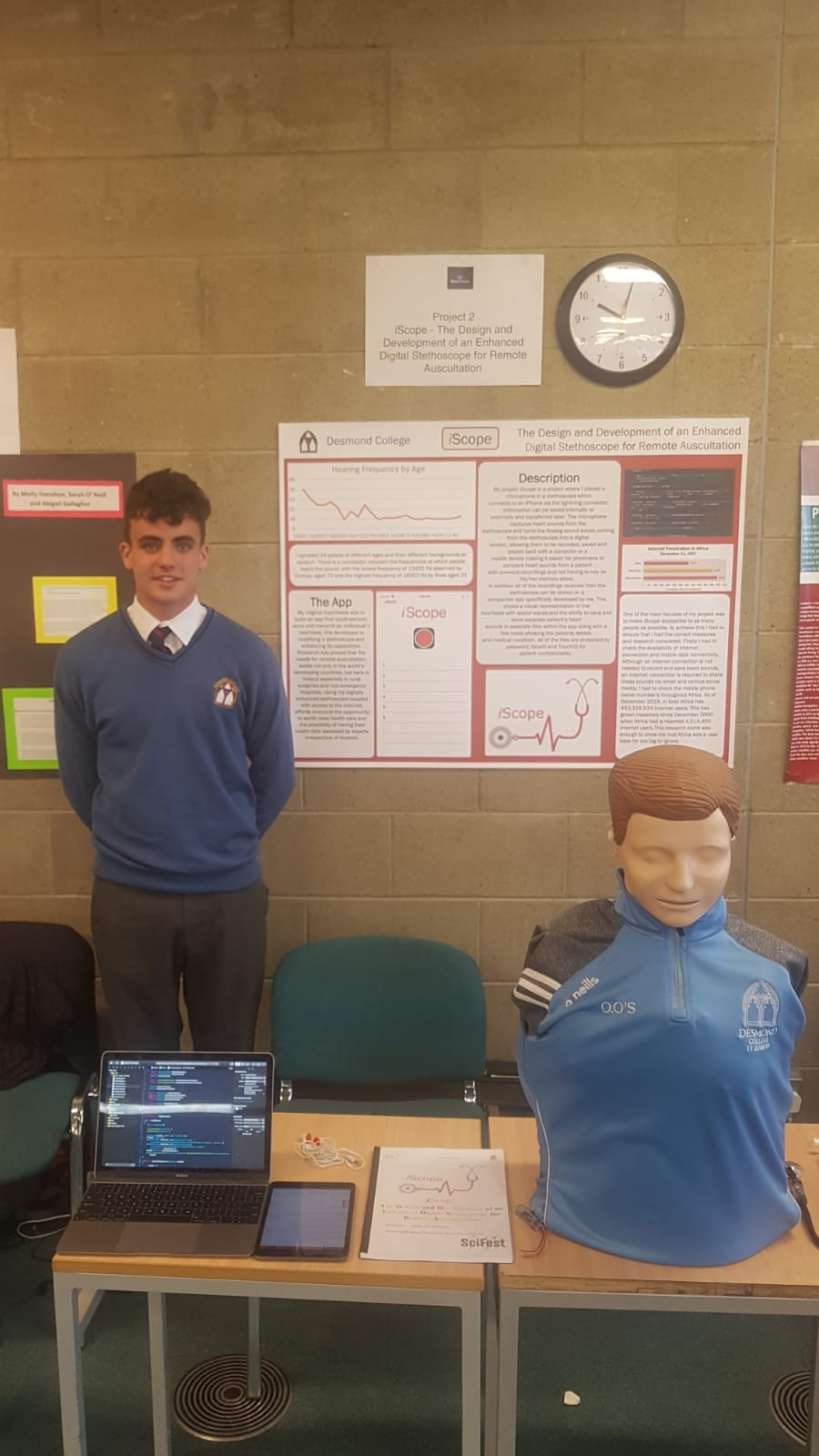 Oisín O'Sullivan completed a project entitled 'iScope – The Design and Development of an Enhanced Digital Stethoscope for Remote Auscultation.