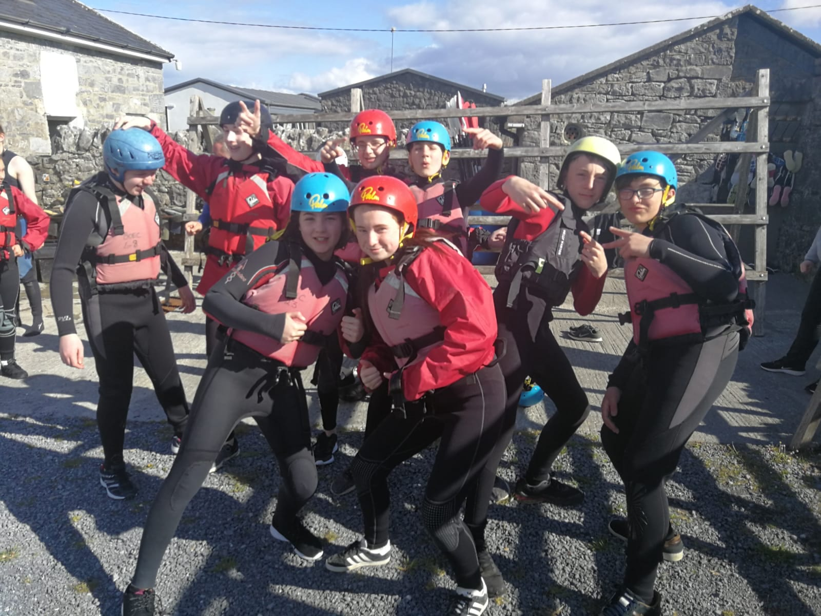Some First Year Students about to get ready for kayaking and raft building in the Burren