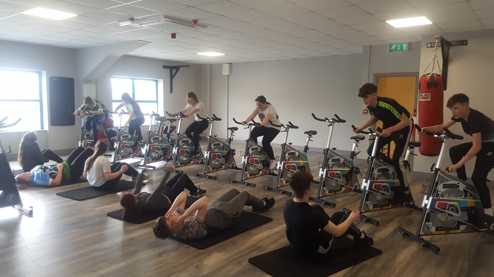 Students enjoying a gym session in the arena as part of Active Week