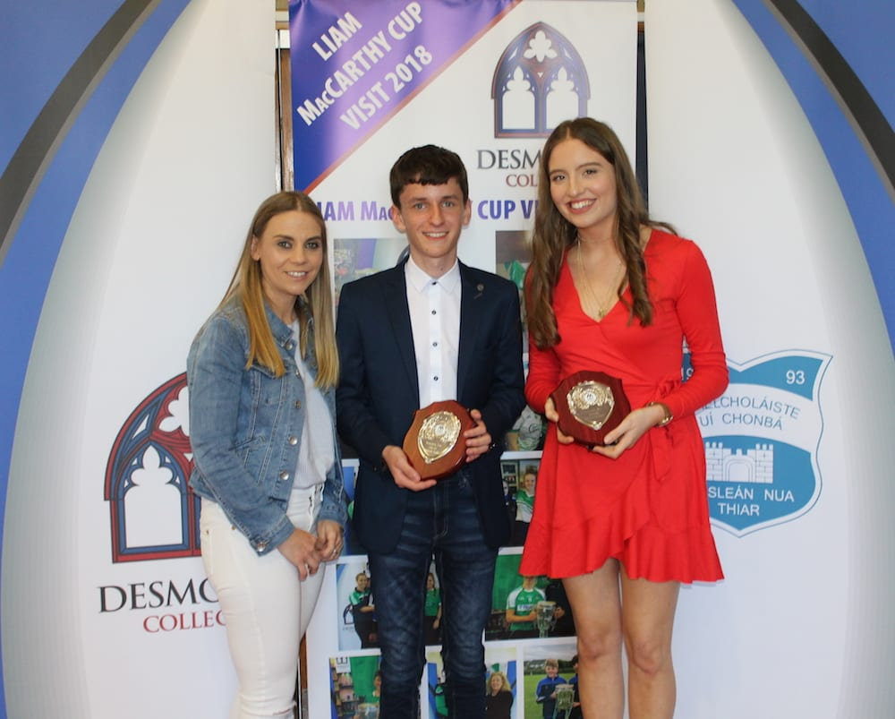 Conor Fox and Melissa Flaherty receiving their Community Spirit Award from Ms Corkery