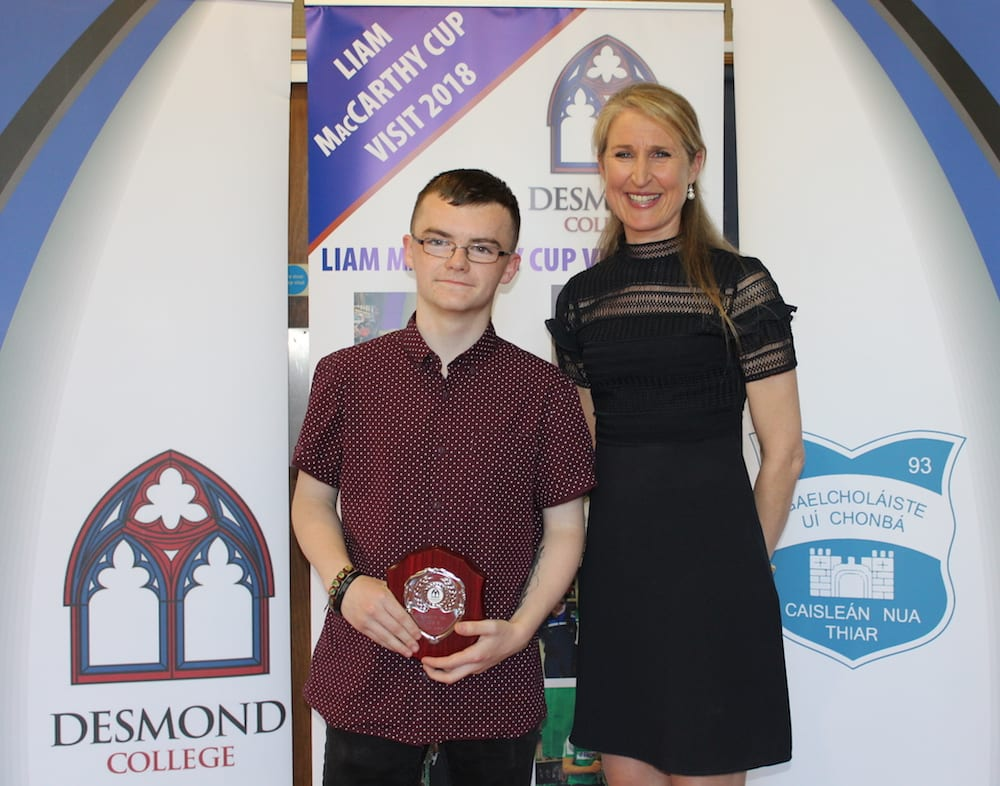 Daniel O Sullivan receiving the Transition Year Tutor Award from Ms Kerrie Collins
