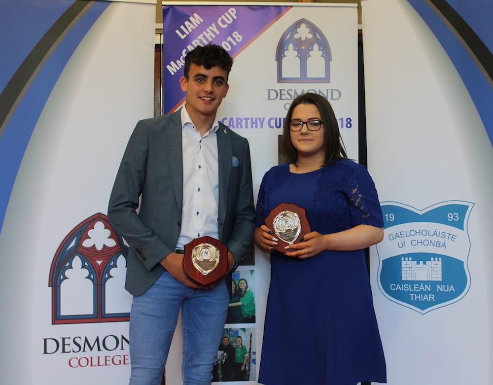 Oisin O Sullivand and Chloe Aherne receving the Brothers of Charity Award