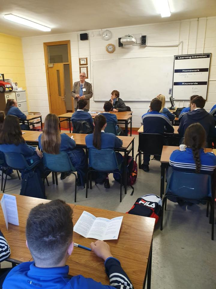 Irish Society for Autism talking in a classroom in Desmond College to TY students