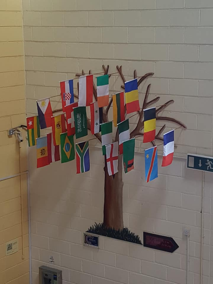 Diversity and Inclusivity Tree on wall in Desmond College showing the flags of all the nationalities attending the school